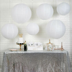 6 WHITE Assorted Large Hanging Paper Lanterns Party Wedding Events Decorations $13.05