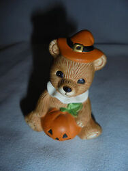 Halloween Bear Jack o Lantern Witch Hat Homco Sticker 2.25quot; Tall Dated Age? $14.99