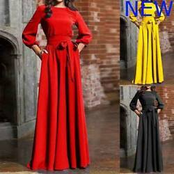 Boho Dresses Womens Party Evening Casual O Neck Cocktail Long Sleeve Maxi Long $38.23