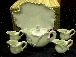 ANTIQUE HAND MADE CHINESE SET OF 7 LIGHT GREEN ART GLASS TEA COFFEE SET WITH BOX