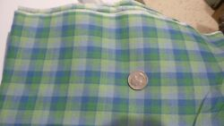 Vintage Cotton Fabric SHADES OF BLUE amp; GREEN PLAID Slight Texture 1 Yd 35quot; Wide $9.99