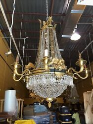 French Empire Chandelier Bronze Ormolu Dore Cristal Eagle 19 Ligths
