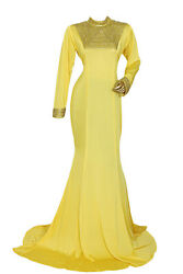 Yellow High Neck Long Sleeve Spandex Beaded Kaftan Abaya Gown Maxi Large $40.00