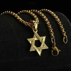 Cz Star of David Pendant Gold Stainless Steel Necklace Round Box Link Chain $19.99