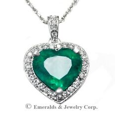 Heart Emerald Pendant Natural Green Emerald with Diamond Halo 18K White Gold