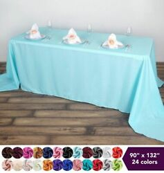 90quot;x132quot; Polyester Tablecloth Wedding Party Table Linens Events Dining Kitchen $8.66