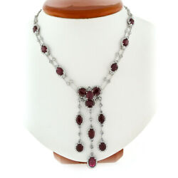 18K White Gold 34.65ct Oval Ruby & Diamond Statement Collier Chandelier Necklace