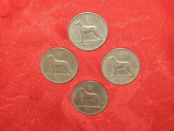Lot Of 4 Vintage Silver Irish Celtic Ireland Wolfhound Dog 6 Pence Coin Coins $13.99