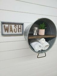 Wash tub shelf bathroom shelf rustic decor farmhouse shelf cabin shelf $69.00