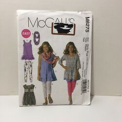 McCall#x27;s 6275 Size 10.5 16.5 Girls plus Dresses Scarf Leggings $11.99