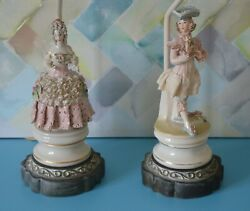Two Vintage Lamps Baroque Style Porcelain Figurines Man Women Intricate Details $399.85