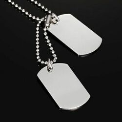 Double Dog Tag Military Pendant Necklace 925 Sterling Silver Plated Steel 24