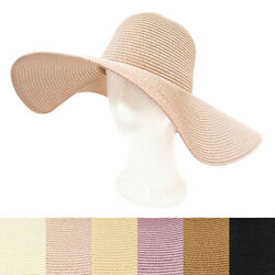 Womens 5.75quot; Wide Brim Foldable UPF50 Floppy Summer Straw Hat Sun Beach hat $12.99