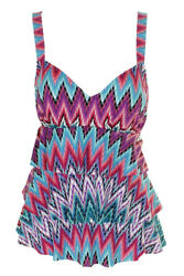 Swim Solutions Teal Multi Island Sunset Tummy Control Tiered Swimsuit 8 $19.37