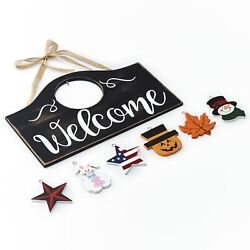 Wall Hanging Welcome Sign with 6 Interchangeable Seasonal Icons $14.98