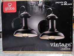 Globe Electric Jameson 1Light Oil Rubbed Bronze Outdoor Wall Lantern Sconce 2Pck