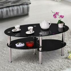 Oval Glass Side Coffee Table Chrome Bars with Shelf Living Room Furniture Black $62.99