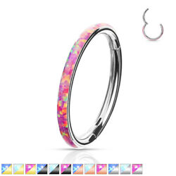 1pc Opal Outer Edge Hinged Segment Ring Septum Clicker 316L Surgical Steel $14.95