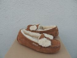 UGG ANSLEY FUR BOW CHESTNUT SHEEPWOOL MOCCASIN SLIPPERS WOMEN US 6 EUR 37 NIB $76.95