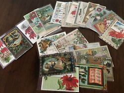 Lot of 25 Vintage 1900's CHRISTMAS Postcards Antique Xmas in Sleeves Free Ship $39.95