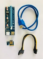 6 PCI-E USB3.0 Express 1x to 16x GPU Extender Riser Card Adapter Power Cables