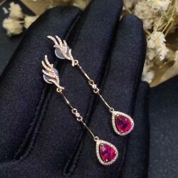 8Ct Pear Red Ruby Simulant Diamond Halo Chandelier Earrings Rose Gold Fns Silver $299.00