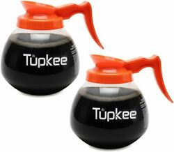 Coffee Pot Decanter Carafe Commercial Replacement 2 PACK DECAF 12 Cup 64oz