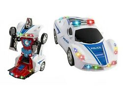 Toys for Boys Age 3 4 5 6 7 8 9 Year Old Kids Police Car Transformer 2 in1 Robot $14.79
