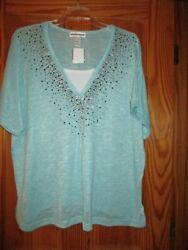 WOMEN#x27;S PLUS SIZE AQUA LAYERED LOOK RHINESTONE STUDDED SWEATER SIZE 1X $7.99