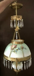 VICTORIAN#x27; HANGING ELECTRIFIED LAMP PRISMS $275.00