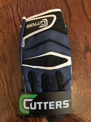 Cutters Gloves Football X40 Revolution Navy Blue Yellow Medium Large Extra Large $19.99