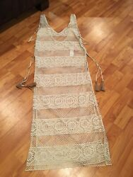 PilyQ Cream Long Water Lily Joy Lace Cover Up Swimsuit Cover Up Size M L. $99.99