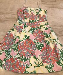 $178 Lilly PULITZER DRESS 🌸 Strapless Green Pink Yellow SUN DAY Floral 0 NWOT
