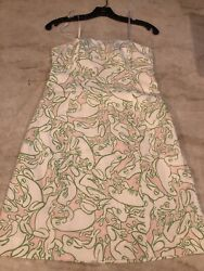 $178 Lilly PULITZER 🌸 Sun DRESS Strapless NEW Green Pink White Day Frog Beach