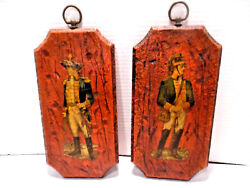 VINTAGE WALL PICTURE PLAQUES PAIR COLONIAL SOLDIERS $17.99