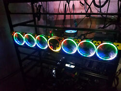 RGB 7 FAN KIT ASSEMBLY FOR GPU MINING RIG INCLUDES 7 RGB FANS amp; RF CONTROLER $199.95