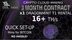 3 Month CLOUD MINING Contract DragonMint T1 Miner Rental 16 TH BITCOIN Hashing $275.00