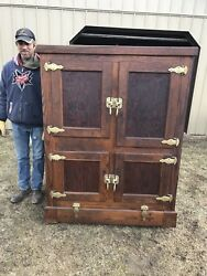 Wonderful Large Commercial Antique Ice Box Country Store Display Original Finish $1,575.00