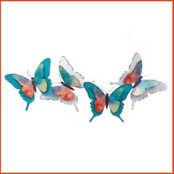 Teal Butterfly Wall Decor Metal Art Mount Watercolor 3D White Hanging Bedroom $60.95