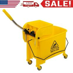 Commercial Mop Bucket Side Press Wringer on Wheels Cleaning 20 Quart Yellow $28.99