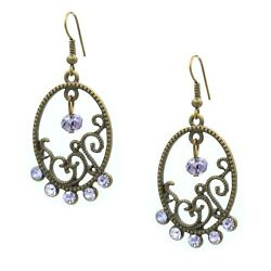 Chandelier Purple Crystal Antiqued Bronze Victorian Style Drop Earring $6.80