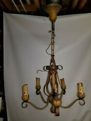 Antique Deco 5 Five Arm Chandelier Light Fixture Cabbage Rose $100.00