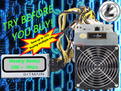 Ant Miner L3+ Rental. 550Mh  Guaranteed 1 week Mining Contract Lease Scrypt LTC $17.59