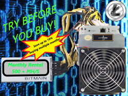 Ant Miner L3+ Rental. 550Mh  Guaranteed 1 Month Mining Contract Lease Scrypt LTC $72.99