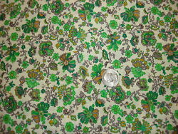 Vintage Cotton Fabric SHADES OF GREEN GRAY AND ORANGE FLORAL 1 Yd $12.00