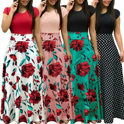 Womens Boho Long Dresses Ladies Summer Beach Party Floral Maxi Dress Plus Size $27.99