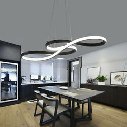 Modern Twist LED Chandelier Acrylic Curved Hanging Pendant Light Office Fixture