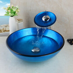 US Bathroom Blue Vessel Sink Tempered Glass Bowl Waterfall Faucet Mixer Tap $109.99