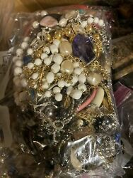 Unsearched Jewelry Vintage Modern Big Lot Junk Craft Box FULL POUNDS Pieces Part $42.95