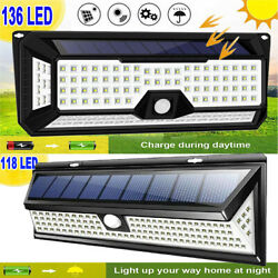 118-136 LED Solar Power PIR Motion Sensor Wall Light Outdoor Garden Yard Lamp $25.59